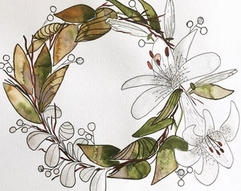 White Floral Watercolor Wreath