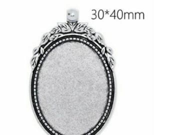 30x40mm Retro Antique Silver Pendants 12 pieces