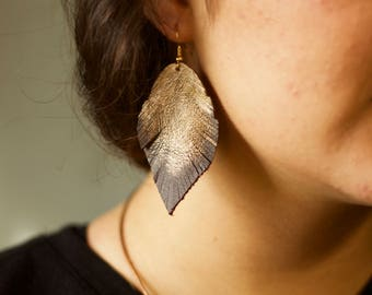 Cocoa Feather Genuine Leather Earrings Hand Painted