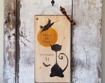 Primitive Halloween Sign, Trick or Treat, Primitive Trick or Treat, Halloween Sign ,Halloween Decoration, Country Halloween, Rustic Haloween