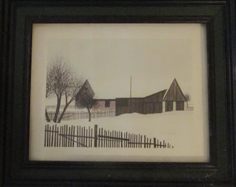 Lithograph by Jacques Deperthes – Winter House Scene