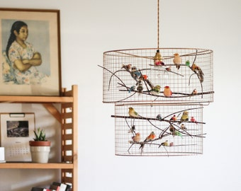 Copper birdcage pendant light chandelier double birdcage pendant light chandelier aloadofball Gallery
