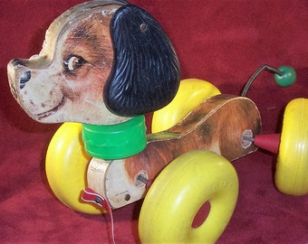 Vintage Fisher Price WOBBLES Dog Pull Toy #130 - 1960's  Wooden Litho Covered with Plastic Wheels - Works!