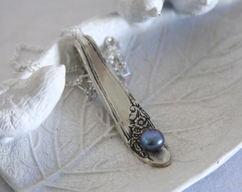 Silverware Necklace Fork Cutlery Pendant Ravens Wing Pearl - Made from a fork with a pearl