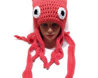 Squid Hat, Squid Costume, Squid Beanie, Slouchy Squid Hat, Squid Cosplay, Costume Hat, Halloween Costumes, Squid Tentacles, Ocean Animals