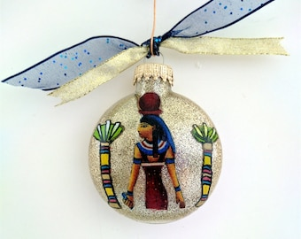 Egyptian Glass Christmas Ornament, Fabric Figures and Hand Painted Designs, Gifts for Teachers, Neighbors, and Friends, BOTH SIDES DECORATED