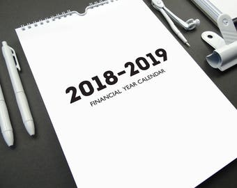 WHITE OUT 2018-2019 Financial Year Monthly A4 Wall Calendar