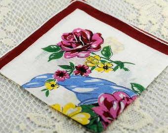 Vintage Hankie Wine, White, Yellow Floral  F-40