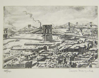 Joseph Margulies, New York, Etching, Art, Williamsburg Bridge, Brooklyn Bridge