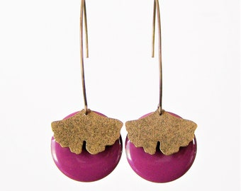 Sequin pink raspberry and ginkgo leaf earrings