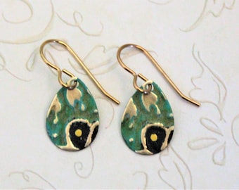 Small Petite Earrings, Teardrop Earrings, Vintaj Jewelry, Green and Brown Jewelry, Dainty Earrings, Patina Jewelry, Brass Jewelry, Deco