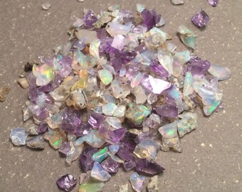 Amethyst and Opal Chips, raw rough gemstone pieces