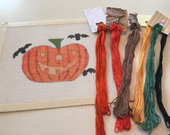 Jack O' Bat Handpainted Halloween Needlepoint Canvas and Overdyed Threads