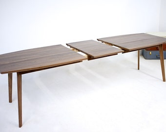 Extension Dining Table, Midcentury Modern Walnut Dining Table, Drop Leaf Table, Dining Table with Leaves, Midcentury Modern