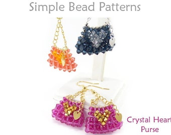 Beading Pattern Tutorial - Crystal Mini Purse Earrings & Keychain Charm - Right Angle Weave - Simple Bead Patterns - Crystal Mini Purse #358