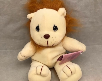 """Enesco Precious Moments Tender Tails Stuffed Plush Lion with Tags - 1997 - 8"""" Tall"""