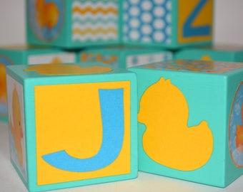 Baby Blocks Gift-Baby Shower Decor for Gender Neutral-Personalized Baby Blocks-Wooden Photo Blocks-Red & Grey Nursery-Ducks Baby Shower