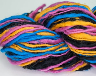 CMYK - 90 yards handspun yarn worsted weight yellow cyan magenta black wool yarn singles