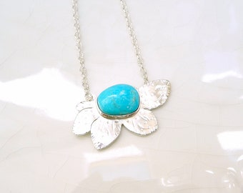 "Turquoise Daisy Necklace - Sterling Silver, Battle Mountain ""Blue Gem"" Turquoise"