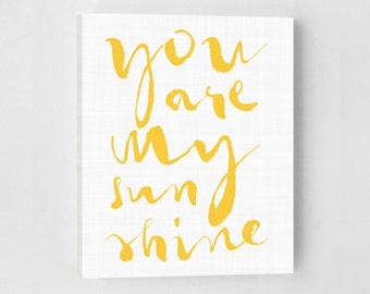 Nursery Art, Nursery Canvas, You Are My Sunshine, Yellow Nursery, Minimalist Art, Handwritten Font, Nursery Decor, Nursery Wall Art, Yellow