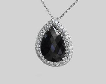 Diamond Pendant , 18k Gold, 14k Gold, Tear Shape