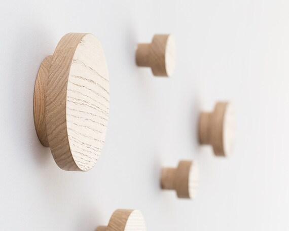 Wall hooks - coat hooks - wooden wall hooks - coats hanger - modern wall  hooks - round wall hooks - round wood hook - coat rack - wood gift