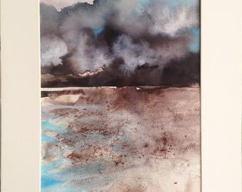 Ink and pigments on paper. Original painting, abstract seascape. With carboard. Contemporary art.
