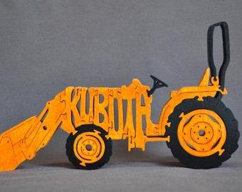 Orange Kubota  Farm Tractor Wooden Toy Puzzle Hand Cut