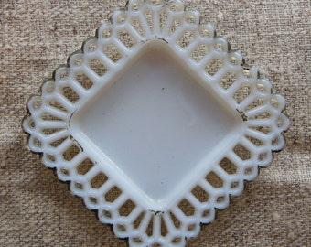 White Opalescent Translucent Lattice Lace Edging Glass Small Square Dish Circa 1910