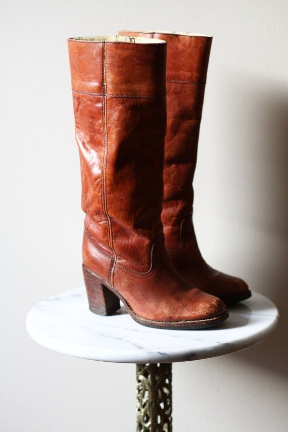 1970s brown leather boots // 1970s leather riding boots // vintage boots