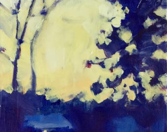 Wednesday Sunrise - 7x5 inches original unframed acrylic painting of the sun coming up on a cold morning by Maryland artist Barb Mowery