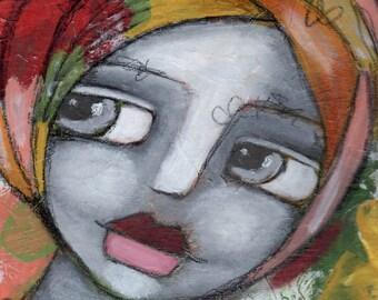 Whimsical Art Print// Rustic Art Print// Prints for Women// Decorative Art Print// Wall Art// Girl in Headwrap// Tropical// Shabby Chic Art