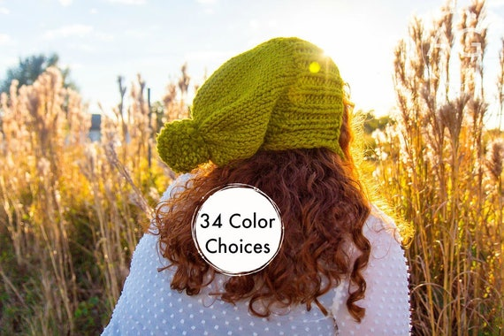 Lemongrass Green Slouchy Hat Womens Hat - Green Hat Green Beanie - Charlotte Ear Flap Hat With Pom Pom Knit Accessories - 34 Color Choices