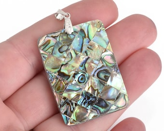 ABALONE SHELL PENDANT Rectangle silver bail 51mm chs4469