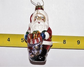 "Vintage Estate Blown Glass Santa With Bag Of Presents Christmas Ornament 4"" x 2"""
