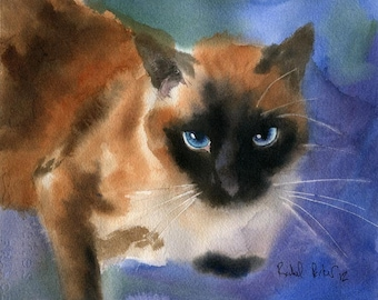 Applehead Cat Art PRINT of a Watercolor Painting Pet Portrait 4 Christmas Gift large big custom hand painted seal point chocolate point