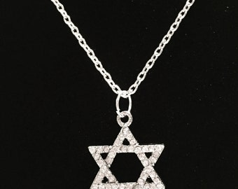 Crystal Star Of David Jewish Religious Faith Gift Necklace