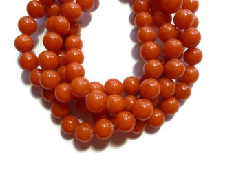 Orange Mountain Jade - 8mm Round Bead - Full Strand - 50 beads - Mashan jade - orange marble