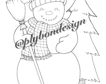 Snowman Coloring Page - Digital Download