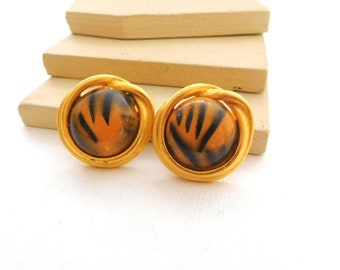 Vintage Black Orange Tiger Print Glass Dome Gold Tone Clip On Earrings G40