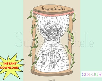 Cute Printable A5 COLORING Page - Printable Progress Tracker - Goal Tracker - Floral Hourglass Design - Hourglass Coloring Page