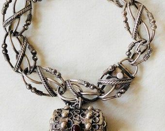 Vintage 800 Silver Etruscan Revival Treasure Chest Charm Bracelet