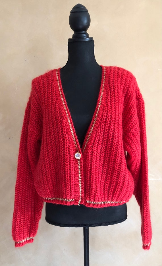 Vintage 80's Red Mohair Blend Sweater