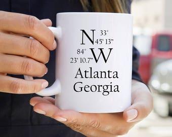 City State Coordinate Mug - Personalized Mugs - City and State Mugs - Housewarming Gift - Custom Mug