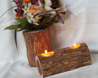 Dinner Table Centerpiece,  Wood Vase & Candle Holder, House Warming Gift,