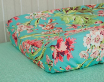 Baby Contour Changing Pad / Mat Cover made with Love Bliss Bouquet Fabric - Floral  Teal Coral Mint Aqua