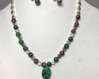 Ruby Zoisite Necklace & Earring Set