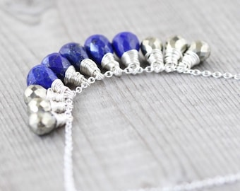 Lapis Lazuli, Pyrite & Sterling Silver Necklace. Blue Gemstone Beaded Cluster Pendant. Wire Wrapped Statement Jewelry. Layering Necklace