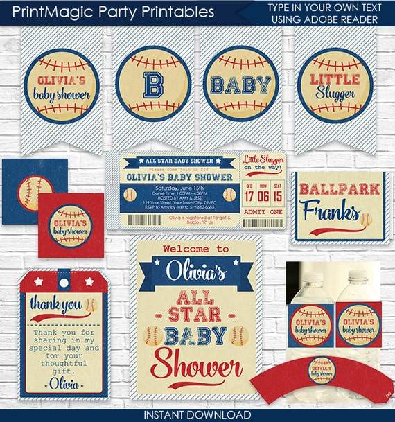 Vintage Baseball Baby Shower Invitation And Decorations