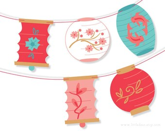 DIY Printable Paper Lanterns Banner PDF digital download Scrapbook Party Decorations